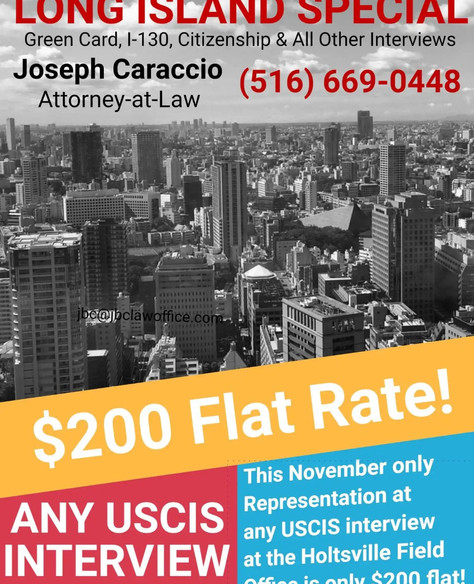 $200 Flat Fee For Representation at USCIS