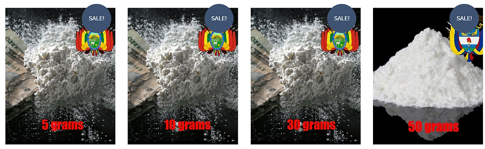 photos of 5 grams of cocaine, 10 grams, 30 grams, and 50 grams of cocaine