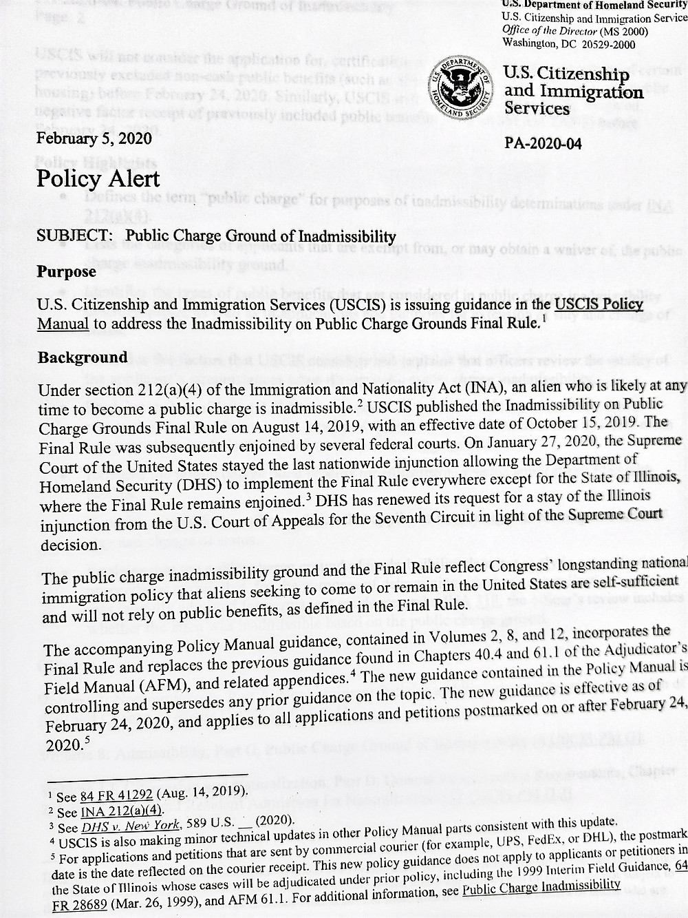 February 5, 2020 USCIS Policy Alert Public Charge