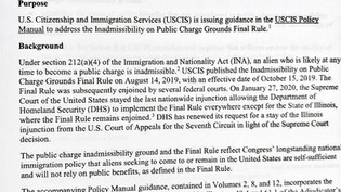 USCIS Releases Policy Alert for Public Charge