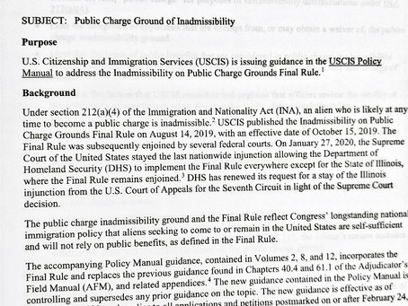 USCIS Releases Policy Alert for Public Charge Ground of Inadmissibility