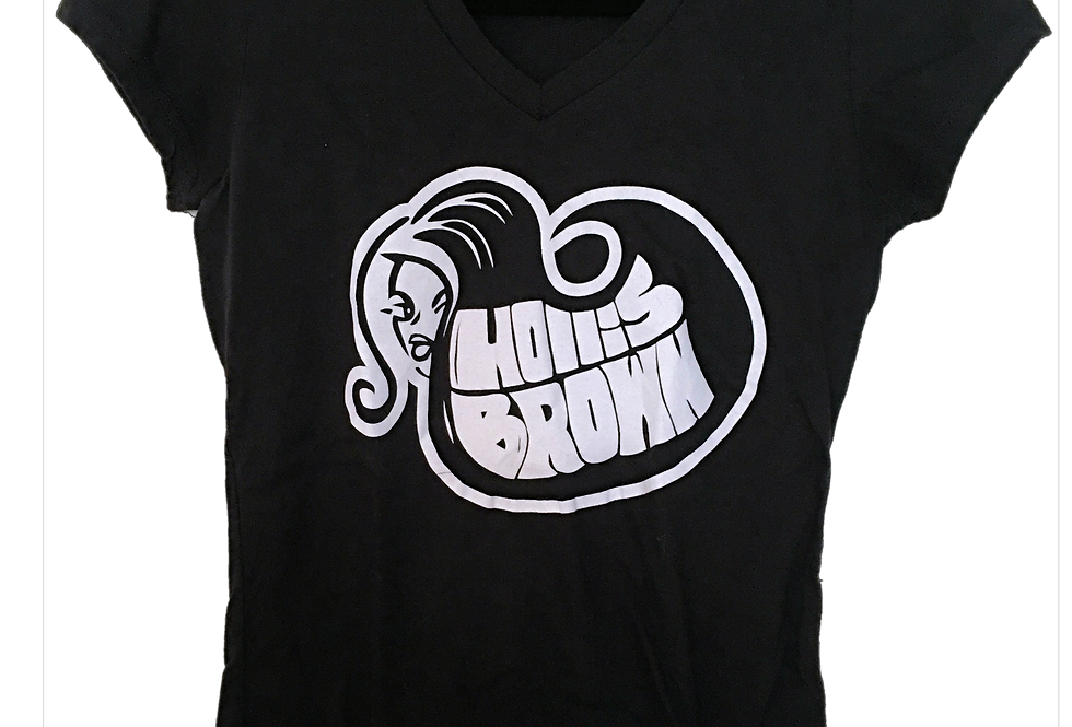 Ladies Black Logo V-Neck