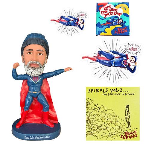 Super Bruce CD, Bobblehead, Magnet, Sticker, & Pin Bundle