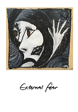 visual art by vivienne boucherat. depicts an abstract face and hand. titled external fear