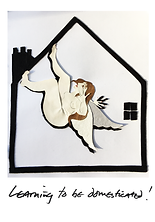 visual art by vivienne boucherat. depicts an angel inside a house. titled learning to be domesticated