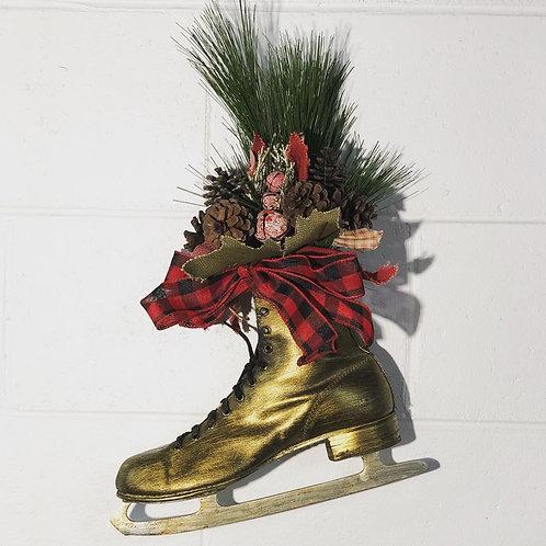 Gold Ice Skate Wreath