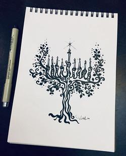 """Tonight's Art_ """"Tree of Life Menorah"""" Ha"""