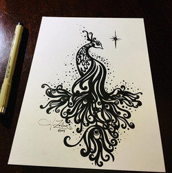 Today's drawing is a stylized peacock in