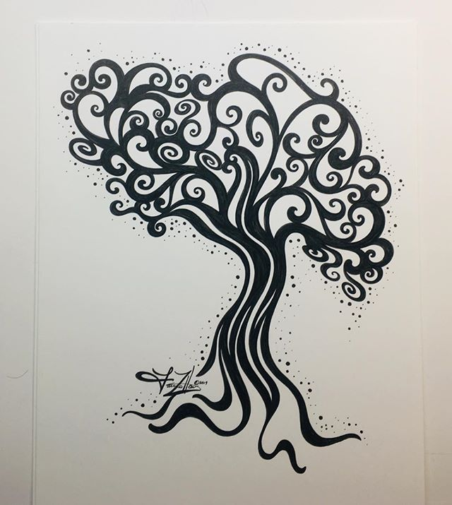 Today's Drawing_ A happy tree illustrati