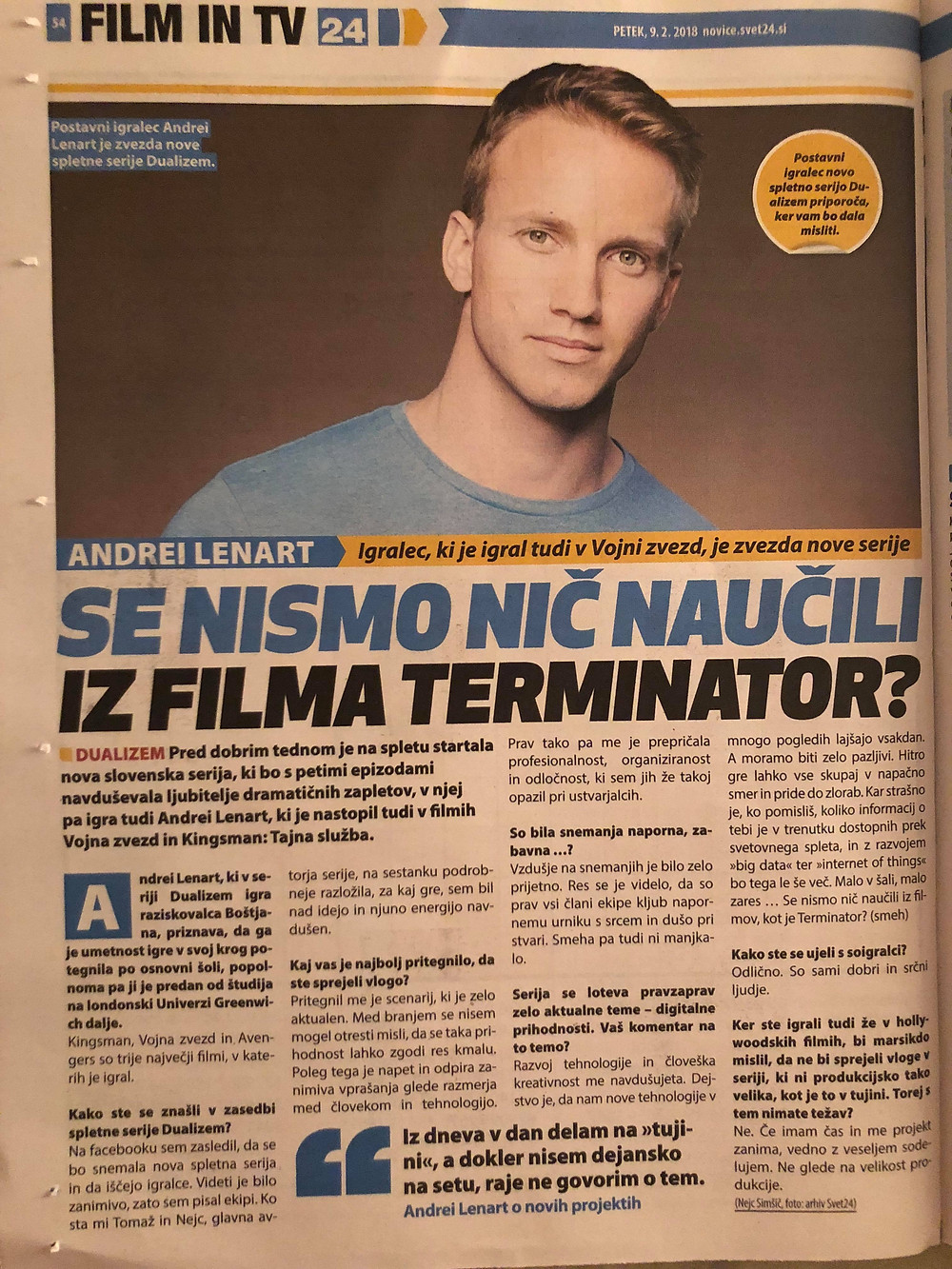 Andrei Lenart interview Slovenian actor Svet 24