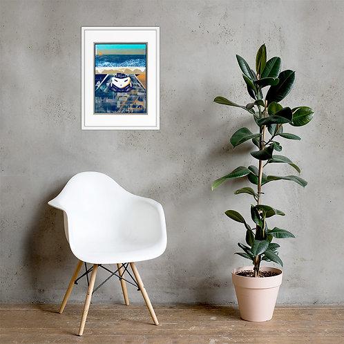 Pushing Work Framed Poster Print