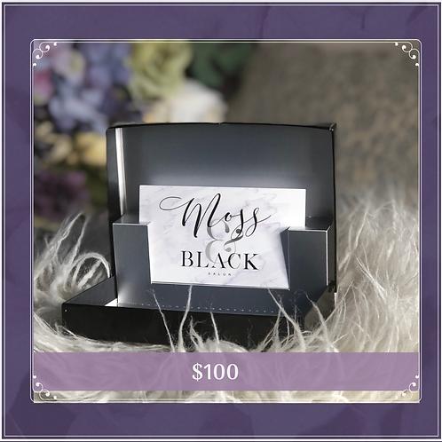$100 Moss & Black Gift Card