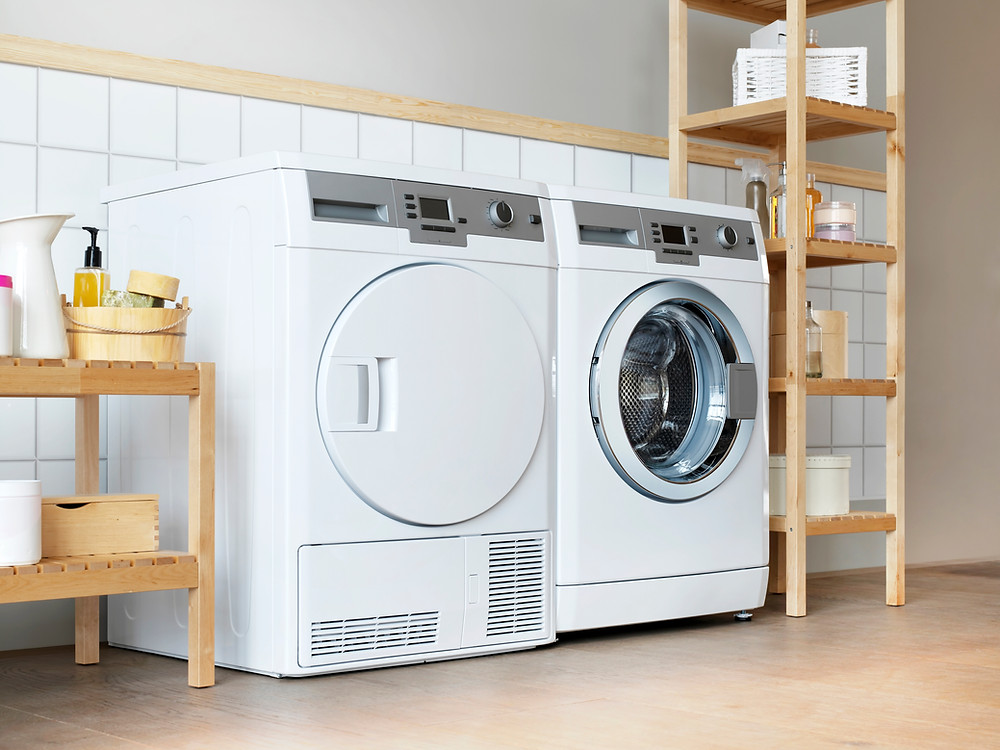 Washing machine and dryer in laundry room