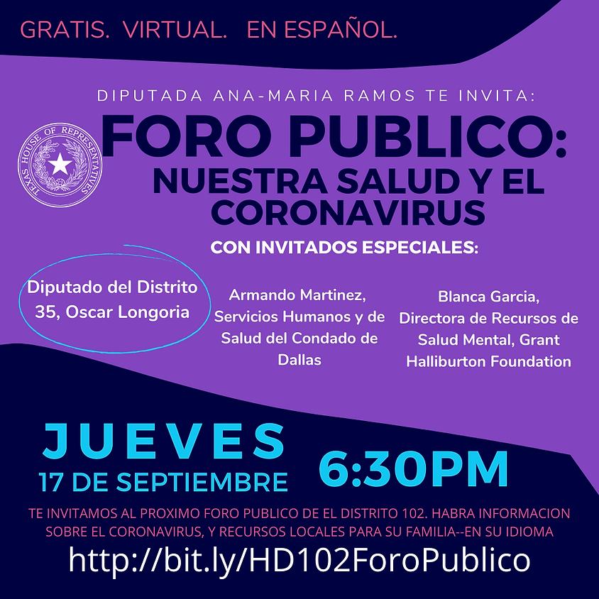 Foro Publico: Nuestra Salud Y El Coronavirus