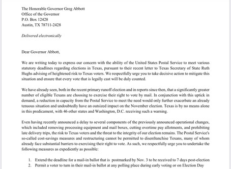 Letter to Gov. Abbott about the Ability of the USPS to Meet Statutory Deadlines Regarding Elections