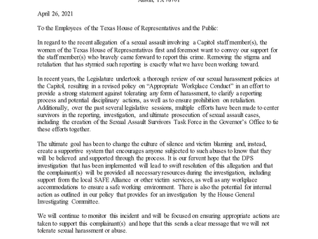 Open Letter of Support to Capitol Staff