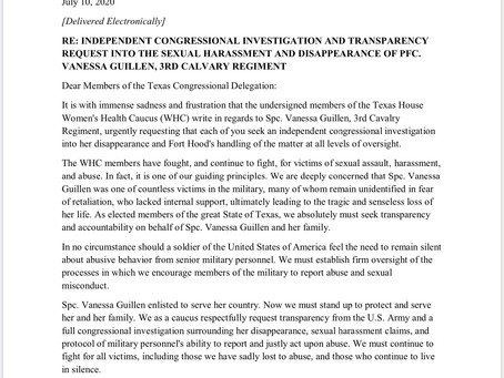 The Texas House Women's Health Caucus Ask for an Investigation for Spc. Vanessa Guillen