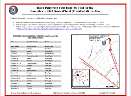 Hand Delivering Your Ballot by Mail for the Nov. 3rd, 2020 General/Joint Election