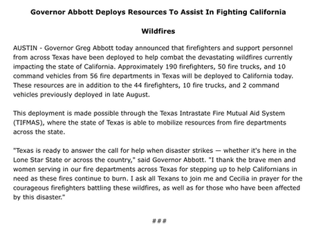 Gov. Abbott Deploys Resources To Assist In Fighting California Wildfires