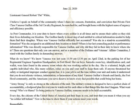 """Letter to General Robert """"Pat"""" White Urging Him to Provide Answers About Private Vanessa Guillen"""