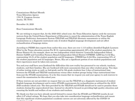 Representative Beckley Letter to TEA for the cancellation of TELPAS Examination