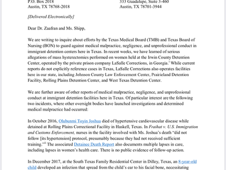 Texas House Women's Health Caucus Letter for TMB about Immigrant Hysterectomies