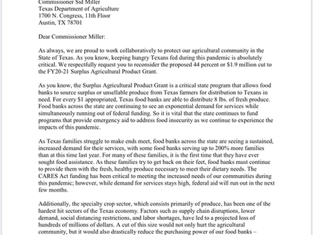 Letter to Commissioner Miller about the cut to the FY20-21 Surplus Agricultural Product Grant