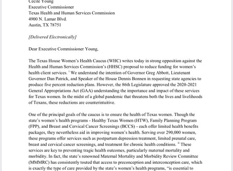 Letter from the THWHC to Oppose HHSC Proposal to Reduce Funding for Women's Health Services