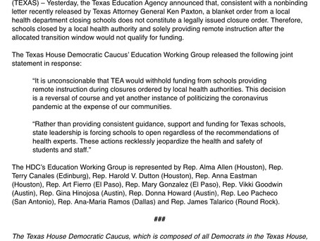 Texas HDC Education Working Group Responds to TEA Announcement about School Funding