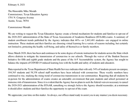 Letter to TEA to Create Formal Opt-Out Process for 2021 STAAR Test