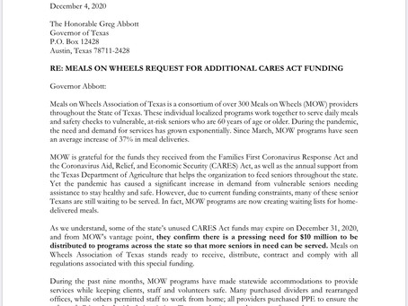Meals on Wheels Letter for Gov. Abbott Request CARES Act Funding
