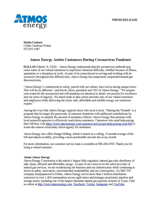 COVID-19 Atmos Energy Bill Assistance Pr