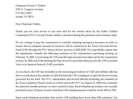 TUSF Emergency Measures Letter