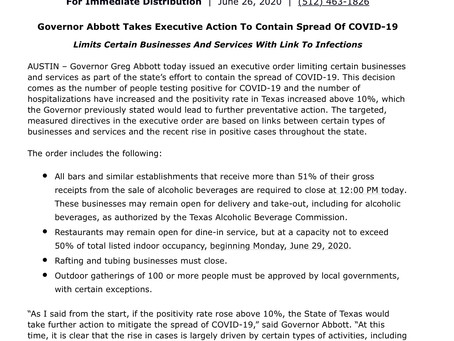Gov. Abbott Issues Executive Order to Close Bars & Other Businesses as COVID Response