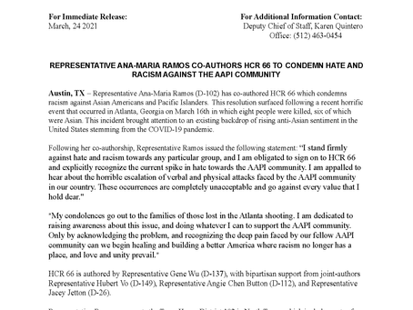 Rep. Ramos Co-Authors HCR 66 To Condemn Hate and Racism Against the AAPI Community