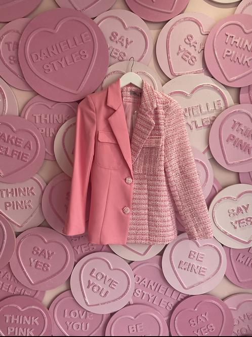 Half and Half Pink Tweed Blazer