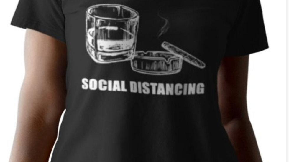 Cigar/Whiskey Social Distancing -Vneck Plus