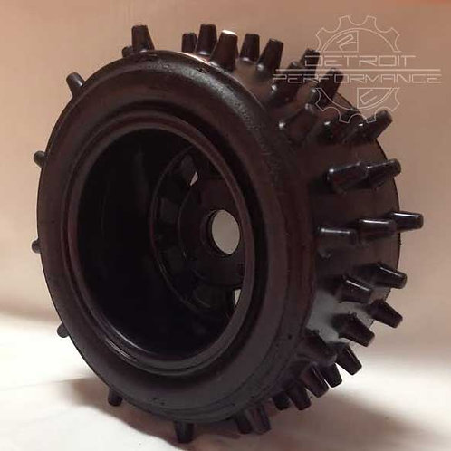 """Bishop Racing Wheel/Tire-  Super Spikes  3"""" wide with 1inch offset"""