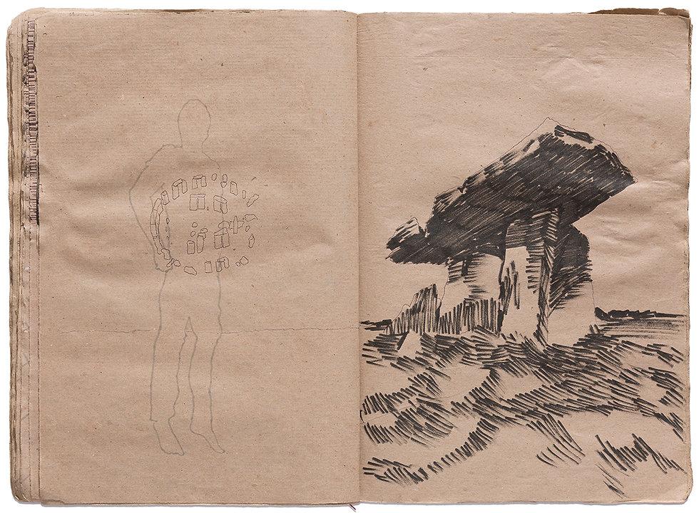Venus of Willendorf Stoneedge Dolmen Ritual Cerimony Goddess Gore Corpse Dead body Dead Couple Death Time Grid Trap Drawing Artist Book Daniel Alfacinha