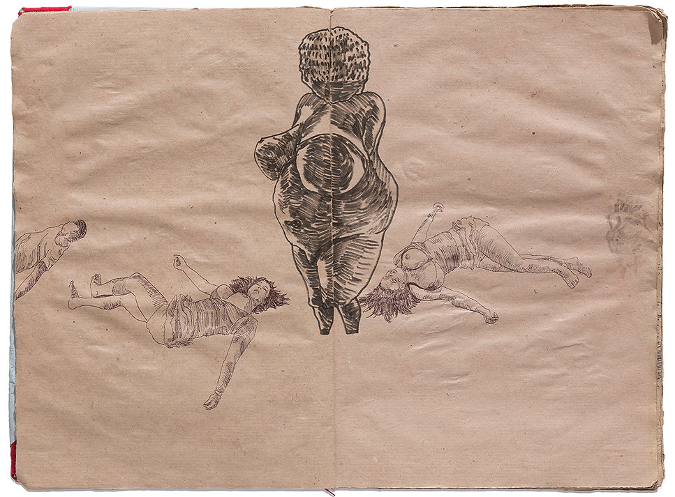 Venus of Willendorf Goddess Gore Corpse Dead body Death Drawing Artist Book Daniel Alfacinha
