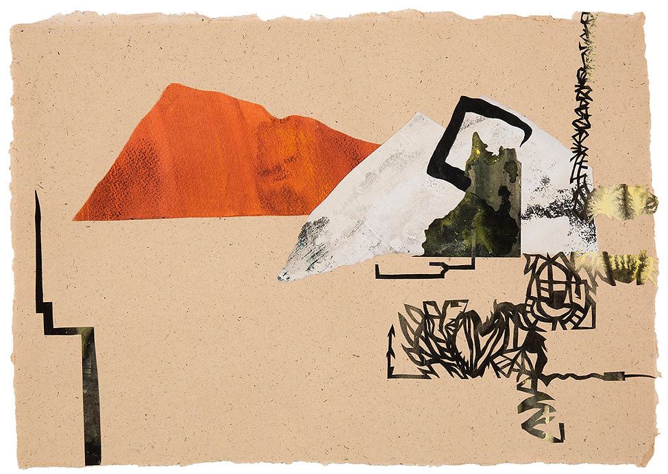Collage Atlantica Ciclos Montains of Madness Lovecraft Painting on Paper Daniel Alfacinha