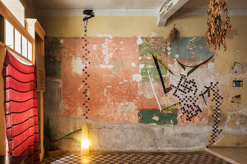 Exhibition Cratera Logradouro Bempostinha 2018 Solo show Artist Art Contemporary Daniel Alfacinha Lisbon Painting Installation Sculpture Teseu Minotaur Labyrinth Dance Death Warrior Beast Ressurection