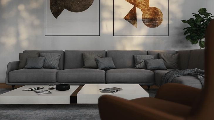 Pine View, Interior Visualization of Couch and Artwork, 3D Render by Ark Visuals