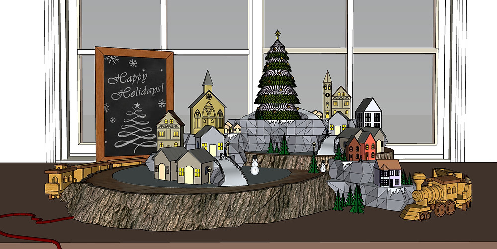 3D mdeol of miniature christmas scene modelled in Sketchup Pro by The Lumion Collective