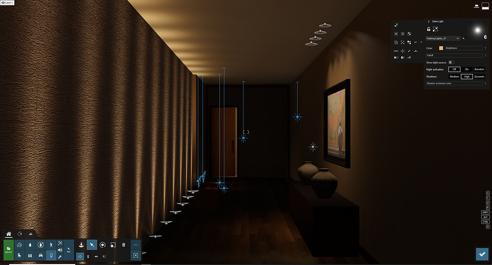 Image showing lighting the end of a hallway scene. Image by The Lumion Collective