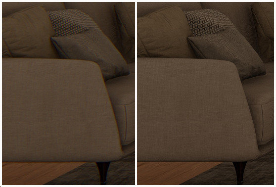 Comparison of Chromatic Aberration in Lumion on Pine View Couch, Render by Ark Visuals
