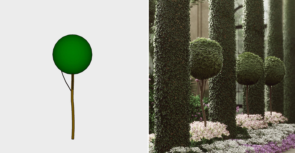 Comparison of Basic Sketchup Model to Detailed Lumion Plant by The Lumion Collective
