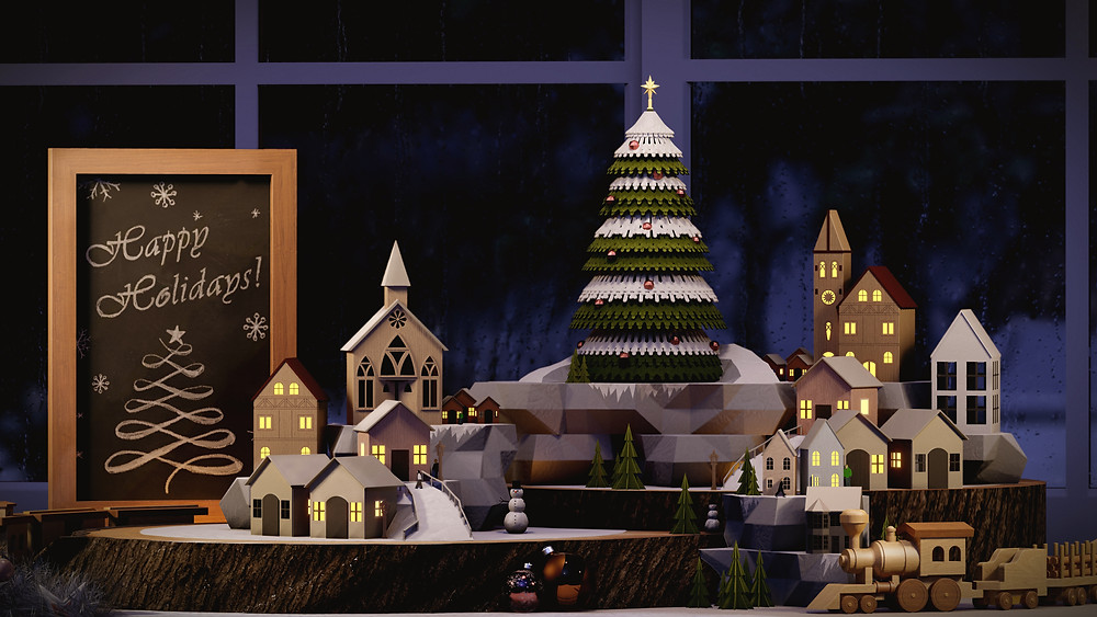 3D render of miniature christmas scene rendered in Lumion 11 by The Lumion Collective