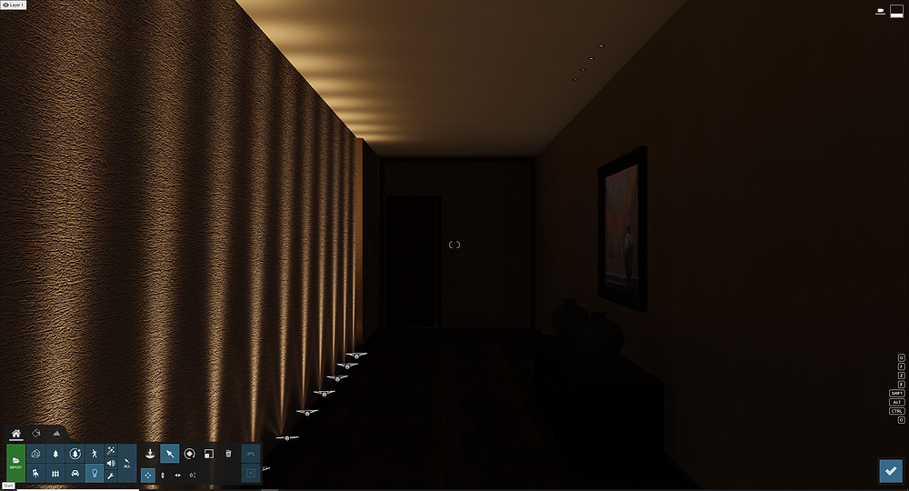 Image showing spotlights in a hallway scene. Image by The Lumion Collective