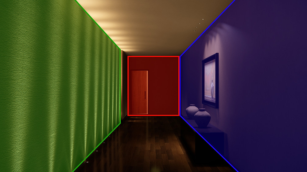 Image showing different lighting zones in a hallway scene. Image by The Lumion Collective